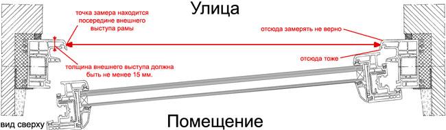 Замер штоковой москитной сетки